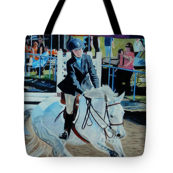 Determination - Horse And Rider - Horseshow Painting Tote Bag