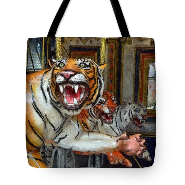 Detroit Tigers Carousel Tote Bag by Michelle Calkins