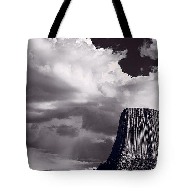 Devils Tower Wyoming Bw Tote Bag by Steve Gadomski