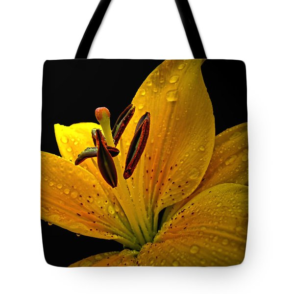 Tote Bag featuring the photograph Dew On The Daylily by Debbie Portwood