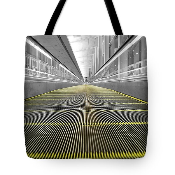 Tote Bag featuring the photograph Dfw Airport Walkway Perspective Color Splash Black And White by Shawn O'Brien