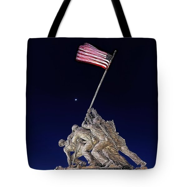 Digital Drawing - Iwo Jima Memorial At Dusk Tote Bag