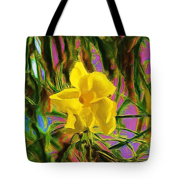 Tote Bag featuring the digital art Digital Painting Of Yellow Orchid by John  Kolenberg