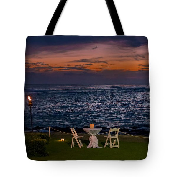 Dinner Setting In Paradise Tote Bag by Darcy Michaelchuk