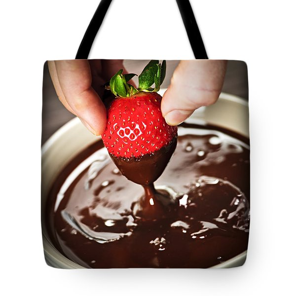 Dipping Strawberry In Chocolate Tote Bag by Elena Elisseeva