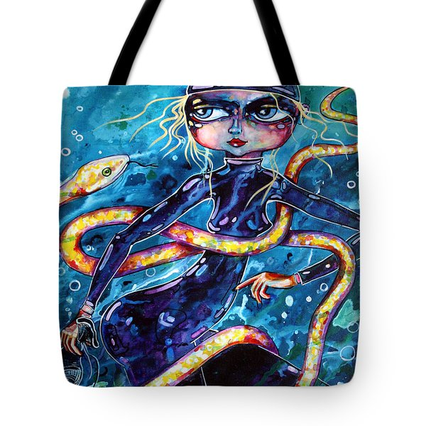 Tote Bag featuring the painting Diving With Serpent by Leanne Wilkes