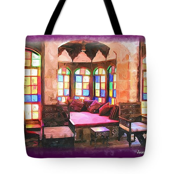 Tote Bag featuring the photograph Do-00520 Emir Bachir Palace Interior-violet Bkgd by Digital Oil