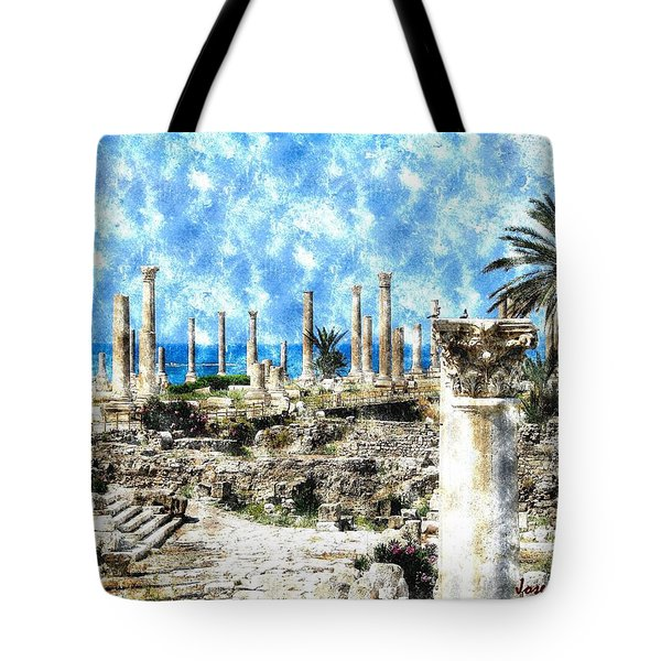 Tote Bag featuring the photograph Do-00549 Ruins And Columns - Town Of Tyr by Digital Oil