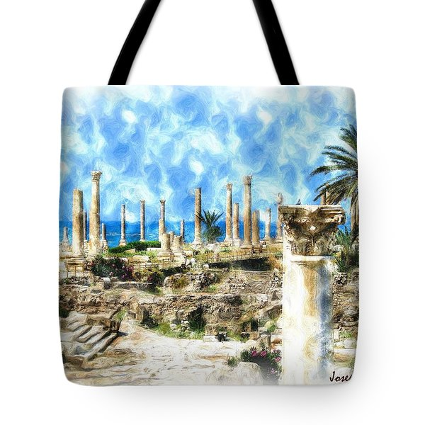Do-00550 Ruins And Columns Tote Bag by Digital Oil