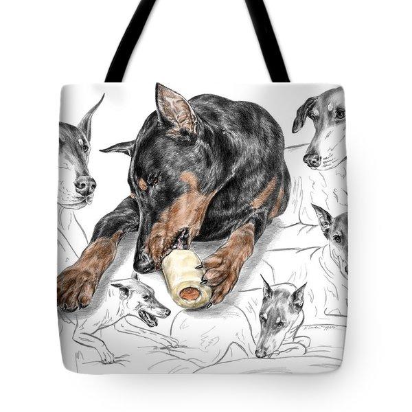 Dober-thoughts - Doberman Pinscher Montage Print Color Tinted Tote Bag