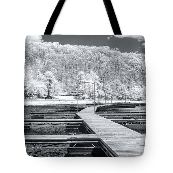 Tote Bag featuring the photograph Dock In Infrared by Mary Almond