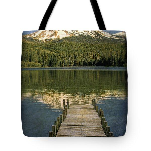 Dock On Mountain Lake Tote Bag by Jill Battaglia