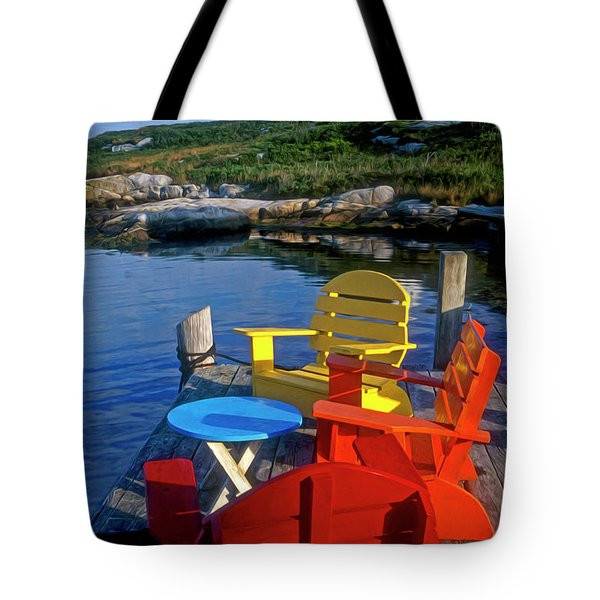 Dockside At Peggys Cove Tote Bag by Dave Mills
