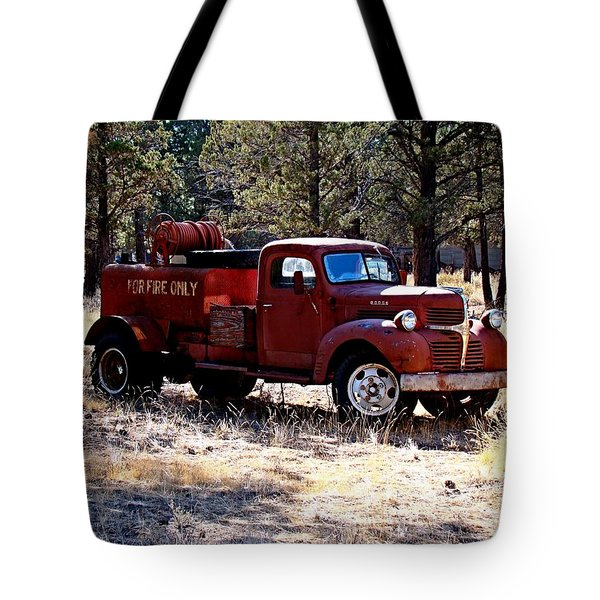 Logging Fire Truck Tote Bag