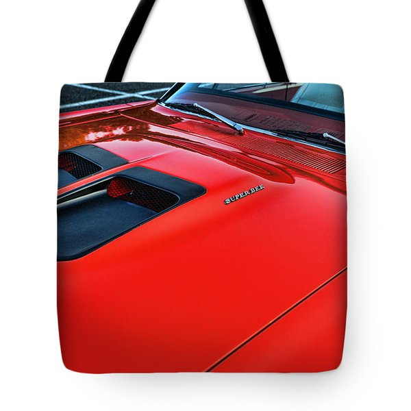 Dodge Super Bee Hood  In Red Tote Bag by Paul Ward