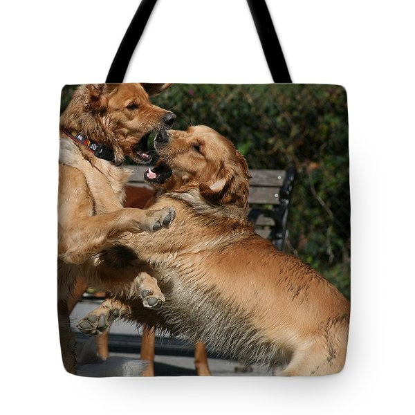 Dog Playground Tote Bag by Valia Bradshaw