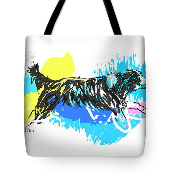Dog Running In Water Tote Bag