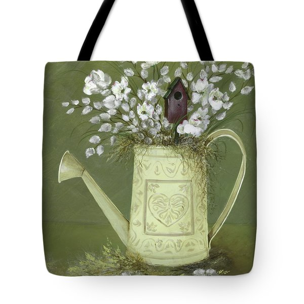 Tote Bag featuring the painting Dogwood Cuttings  by Nancy Patterson