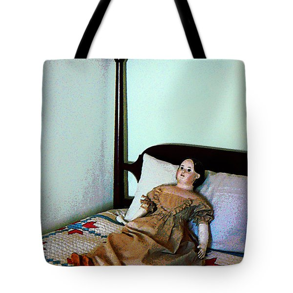 Doll On Four Poster Bed Tote Bag by Susan Savad