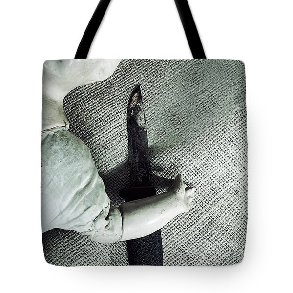 Doll With Knife Tote Bag by Joana Kruse