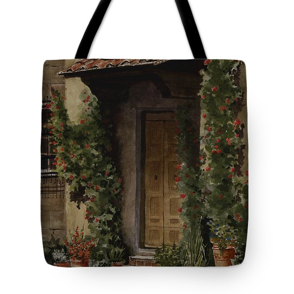 Door With Roses Tote Bag