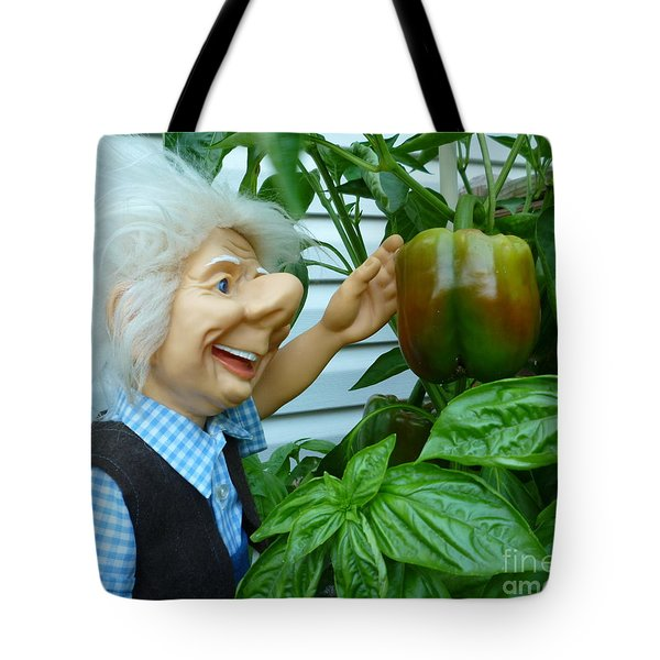 Tote Bag featuring the photograph Dorf Grandpa Doll Picking Bell Peppers by Renee Trenholm