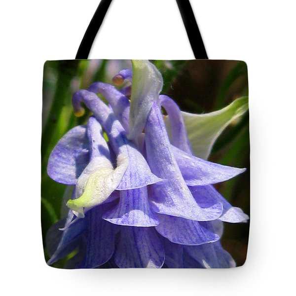 Tote Bag featuring the photograph Double Columbine Named Light Blue by J McCombie