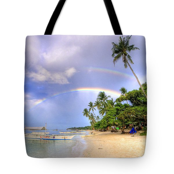 Double Rainbow At The Beach Tote Bag by Yhun Suarez