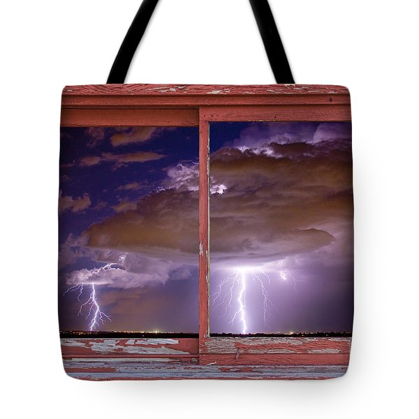 Double Trouble Lightning Picture Red Rustic Window Frame Photo A Tote Bag by James BO  Insogna