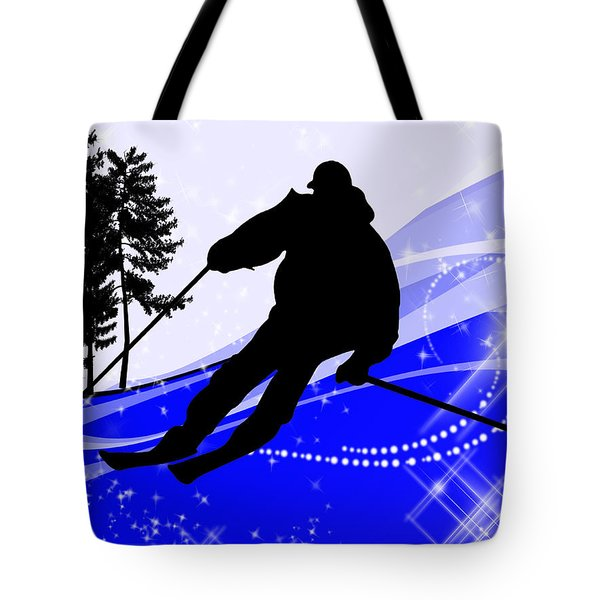 Downhill On The Ski Slope  Tote Bag by Elaine Plesser
