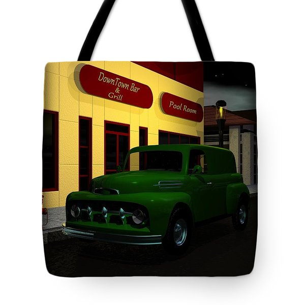 Tote Bag featuring the digital art Downtown Bar And Grill by John Pangia