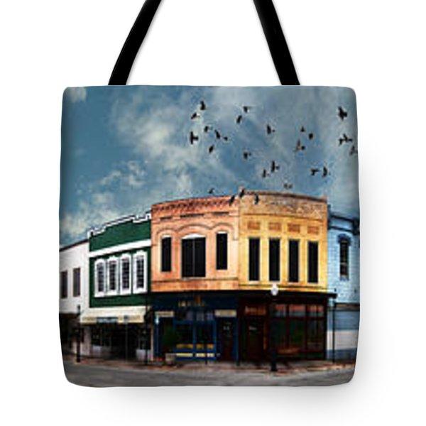 Downtown Bryan Texas Panorama 5 To 1 Tote Bag