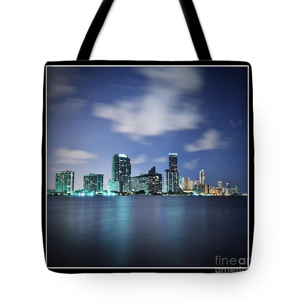 Downtown Miami At Night Tote Bag by Carsten Reisinger