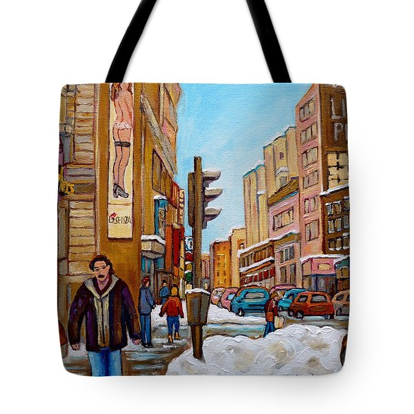 Downtown Montreal Paintings Tote Bag by Carole Spandau