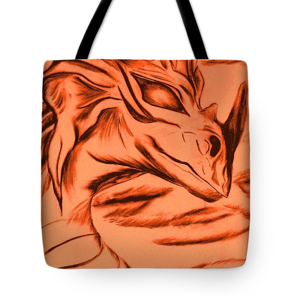 Tote Bag featuring the drawing Dragon In Color by Maria Urso