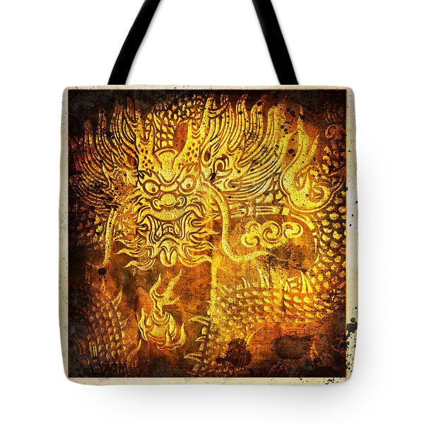 Dragon Painting On Old Paper Tote Bag by Setsiri Silapasuwanchai
