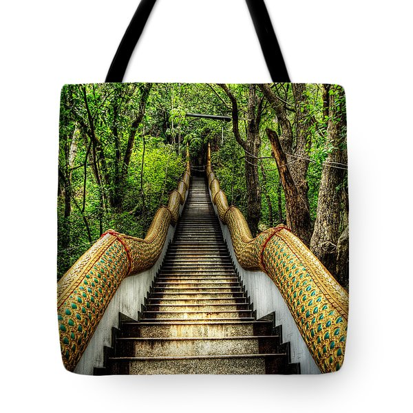 Dragon Steps Tote Bag by Adrian Evans