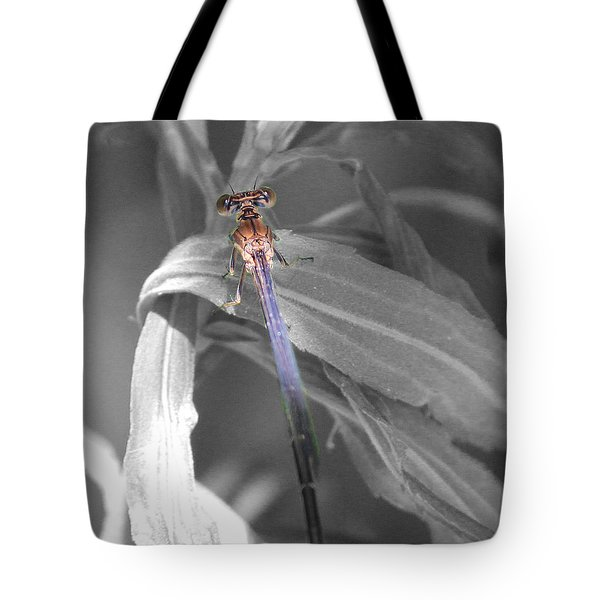 Dragonfly Bw With Color Tote Bag