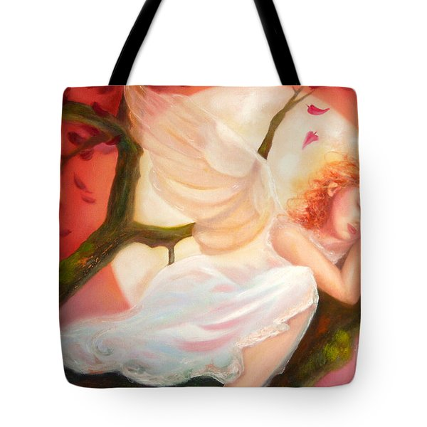 Tote Bag featuring the painting Dreams Of Strawberry Moon by Michael Rock