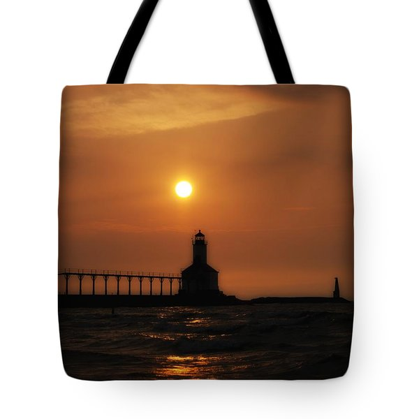 Dreamy Sunset At The Lighthouse Tote Bag