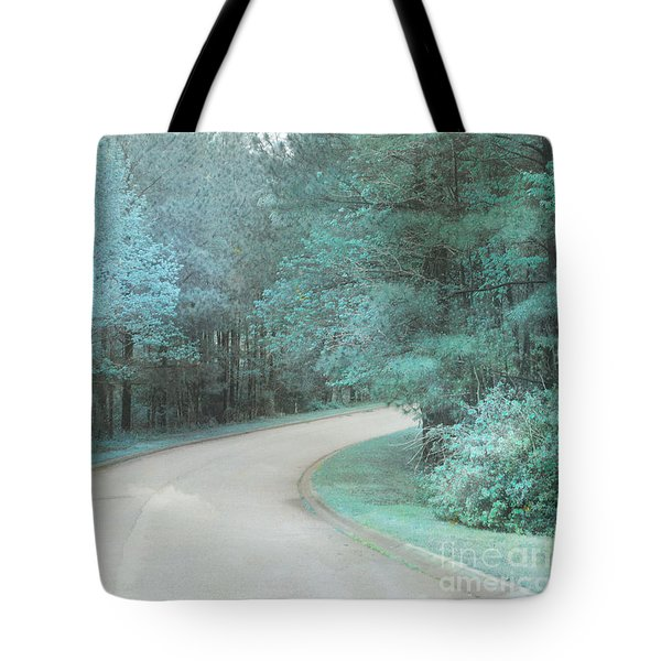 Dreamy Teal Aqua Blue Nature Trees Tote Bag by Kathy Fornal