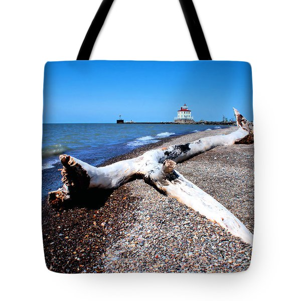 Tote Bag featuring the photograph Driftwood At Erie by Michelle Joseph-Long