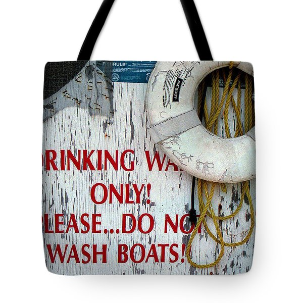 Drinking Water Only Tote Bag by Patricia Greer