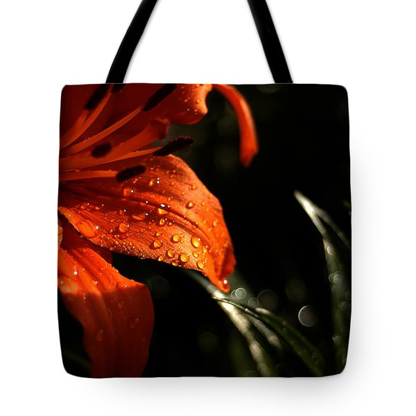 Tote Bag featuring the photograph Droplets On Flower by Vilas Malankar