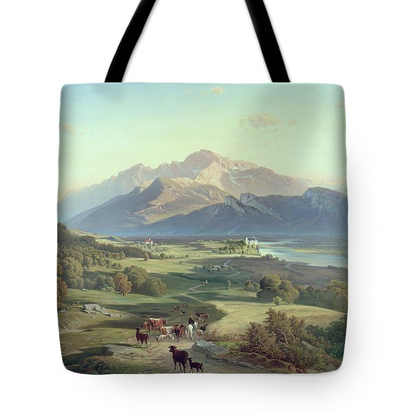 Drover On Horseback With His Cattle In A Mountainous Landscape With Schloss Anif Salzburg And Beyond Tote Bag by Josef Mayburger
