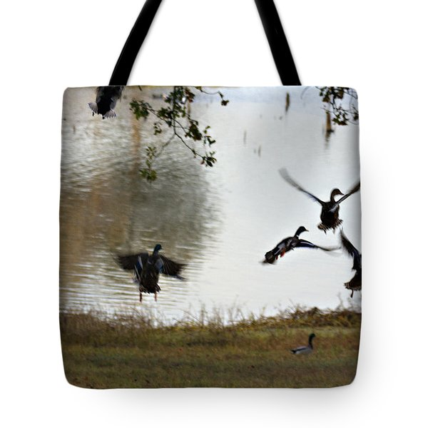 Duck Frenzy Tote Bag by Douglas Barnard