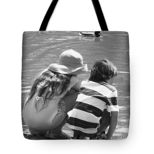 Tote Bag featuring the photograph Duck Pond Siblings by Ann Johndro-Collins