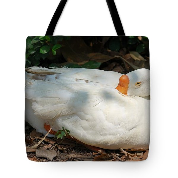 Tote Bag featuring the photograph Duck Resting by Fotosas Photography