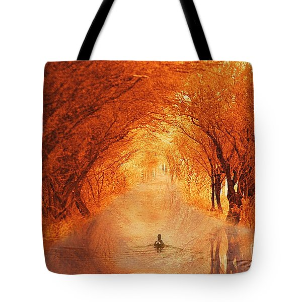 Duck Swimming Down The Walk Tote Bag
