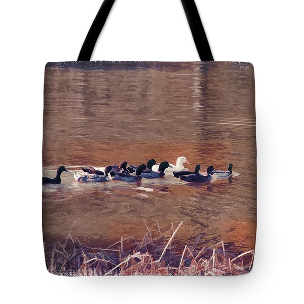 Ducks On Canvas Tote Bag by Douglas Barnard